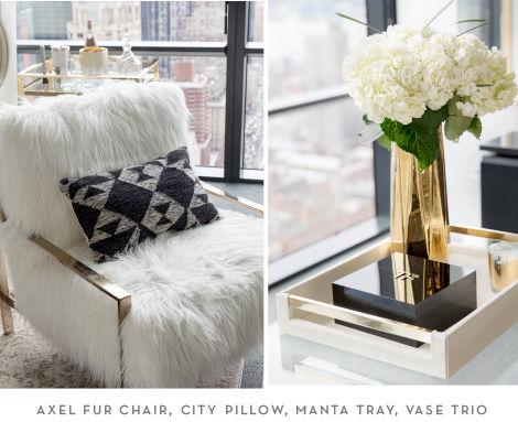 z gallerie office chair ikea black makeover cosmopolitan the axel fur city pillow manta tray and vase trio