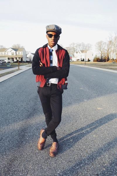 varsity jacket lifetime collective jacket - black wayfarer ray-ban sunglasses