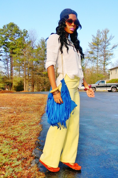 light yellow vintage flare pants - blue diy purse