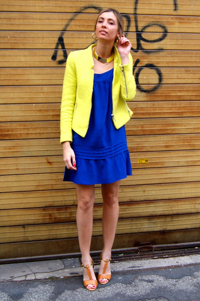 yellow zara jackets blue