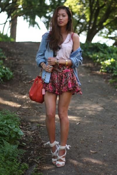 H&m Denim Shirt Blue Jacket Random Pink Top F21 Floral Pink Skirt H&m White Shoes
