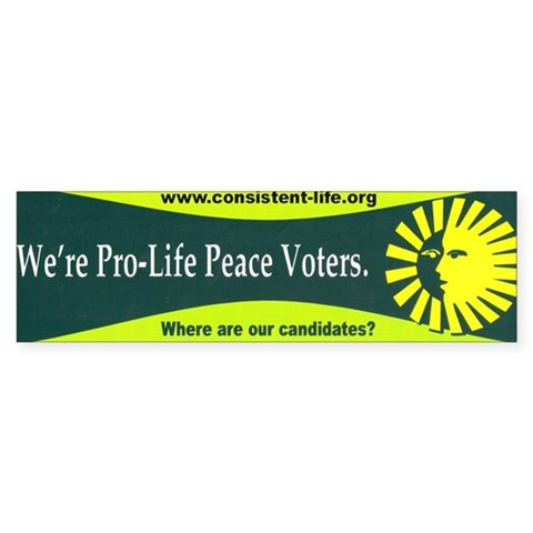 Pro-Life Peace Voters Sticker (Bumper)