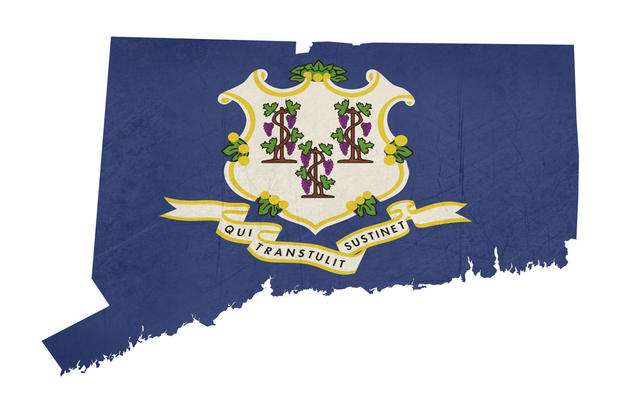 Connecticut Map With Stylized Flag