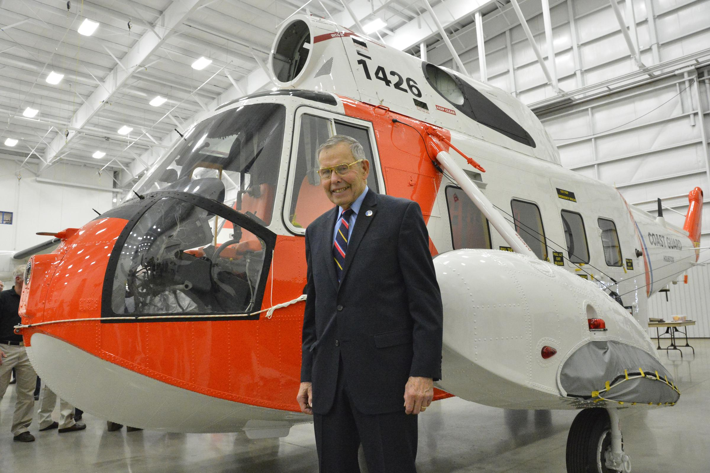 Retired Coast Guard Pilot Sees His Helicopter Installed at