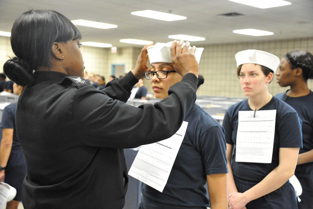 Female Navy Recruits Get First Dixie Cup Hats at Boot