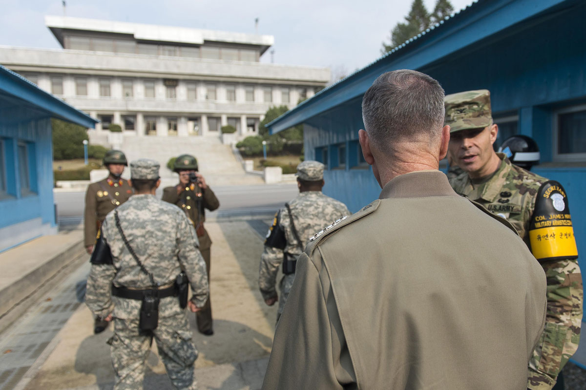 Dunford Salutes US South Korean Troops on DMZ Duty