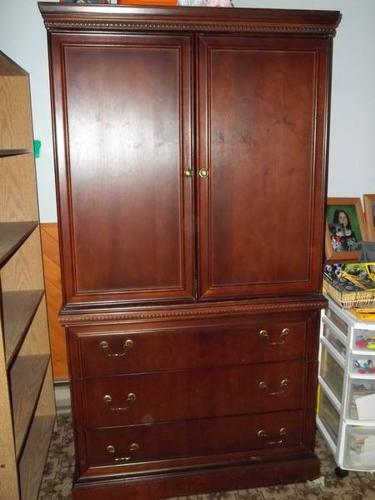 kitchen cabinet for sale pedestal table tv / wardrobe (cherry wood) 100$ o.b.o in ...