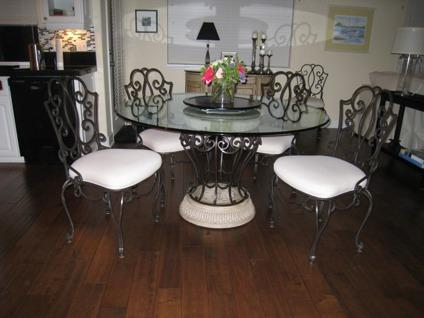 glass top kitchen table set spoons obo wrought iron table, 6 chairs and etagere for sale in ...
