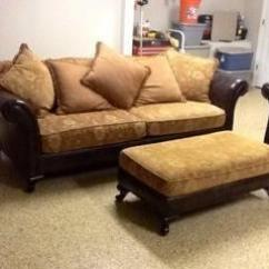 Bernhardt Sofa Leather And Fabric Navy Blue Tufted Like New Sofa,love Seat Ottoman For Sale In ...
