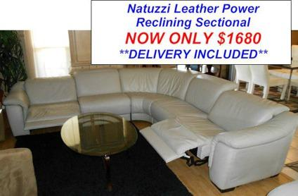 Natuzzi Touch Power Reclining Leather Sectional for Sale