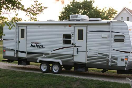 front kitchen travel trailer best flooring for kitchens 2008 salem full slide out rear