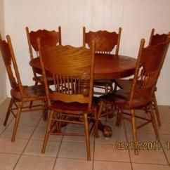 Round Oak Table And 6 Chairs Swing Outdoor 48 Solid Eagle Ball Claw Feet 245 Very Nice Old Style With Matching High Back Carved