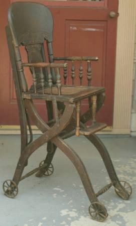 antique 1800s carved oak convertible highchair stroller