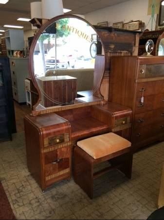 Antique Art Deco Waterfall Vanity Mirror  Bench  for