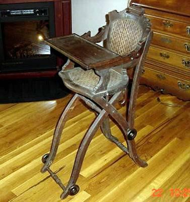 Antique Collapsible Cane Dark Oak Wood High Chair With