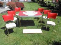 ANTIQUE VINTAGE 1950'S CHROME DINETTE KITCHEN DINING TABLE ...