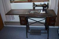 Antique White Rotary Treadle Sewing Machine and Cabinet ...