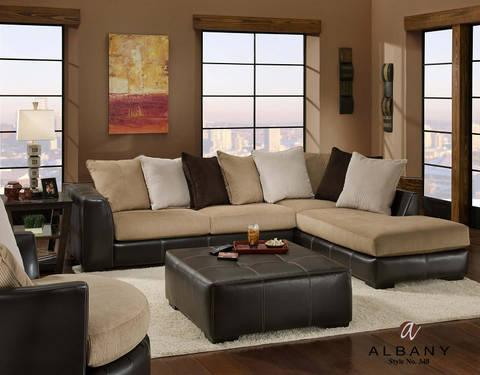 ASHLEY LAKEN MOCHA Corduroy Sectional Sofa Couch BRAND