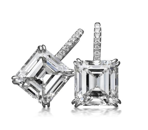 Asscher-cut earrings in platinum for Sale in Princeton