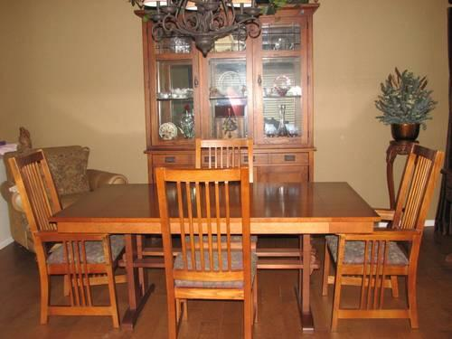 mission style kitchen table milo's bassett formal dining room w 2 leafs ...