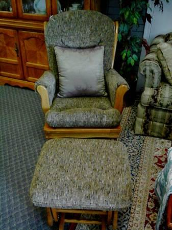 Brown Fabric Glider Chair With Matching Ottoman For Sale