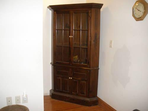 Corner China Cabinet By Ethan Allen In Dark Pine-Used For