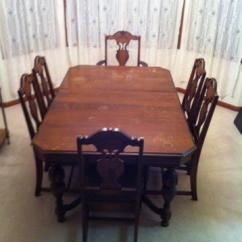 Antique Accent Chair Yellow Covers For Weddings Dining Room Table W/ 2 Leaves + 6 Chairs Carved Late 1930's Sale In Dundee, Illinois ...