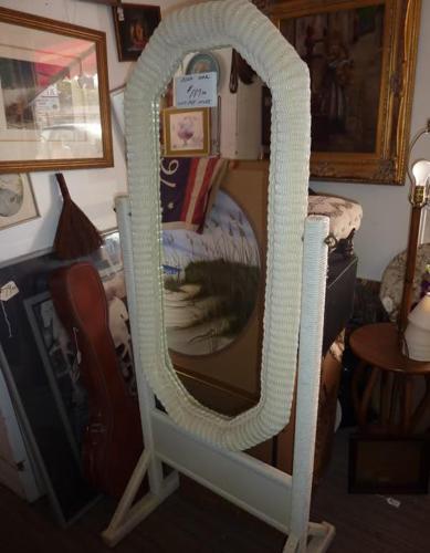 Floor Standing Mirror Full Length White WICKER