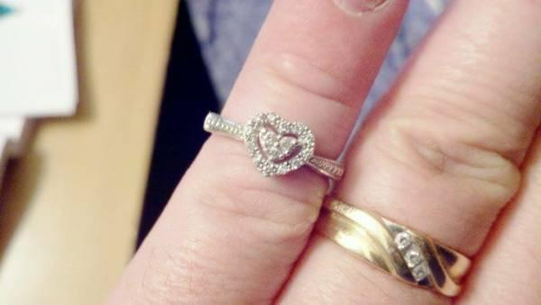Kay Jewelers 10k White Gold Halo Diamond Heart Ring For