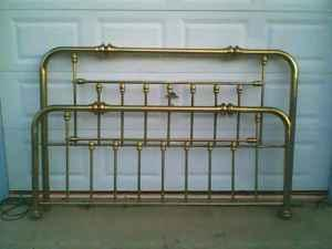 King size brass bed frame and headboard