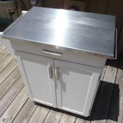 Kitchen Cabinets Fayetteville Nc Kohler Sink Accessories Island Cart Cabinet - Stainless Top/white/wheels ...