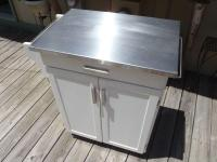 Kitchen Island Cart Cabinet - stainless top/white/wheels ...