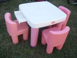 little tikes adjustable table and chairs dining chair set pink white w drawers extra
