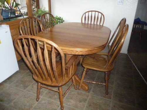 oak dining set 6 chairs white hanging egg chair australia table richardson brothers 2 leaf extenders