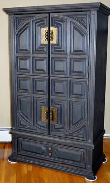 Ornate Chest Armoire in Shabby Chic Black for Sale in East