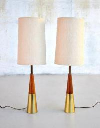 Pair 1950s Mid-Century Danish Modern Tony Paul Table Lamps ...