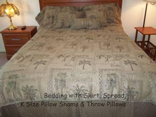 Palm Tree King Size Bedding Ensemble for Sale in Concord