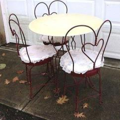 Ice Cream Parlor Chairs Foldable Romantic Vintage Red Painted 50's Table & Set For Sale In Concord, Ohio ...