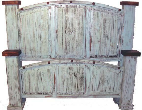 RUSTIC TURQUOISE KING BEDROOM SUITE For Sale In Connor