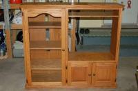 Solid Oak Entertainment Center w/ Side Cabinet & Glass ...