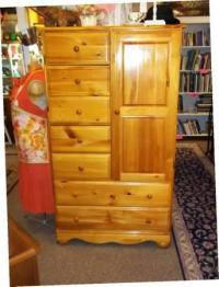 Solid Real Knotty Pine Wood Armoire / Dresser / Wardrobe w ...