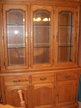 Solid Wood Diningroom Hutch And TableChairs Antique