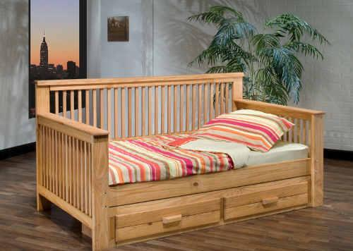 SOLID WOOD NATURAL DAYBED WITH TWO DRAWERS DOWNTOWN