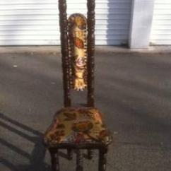 Fabric Desk Chair Ice Fishing Chairs Unique Antique -tall Skinny Back - (roy, Utah) For Sale In Ogden, Utah Classified ...