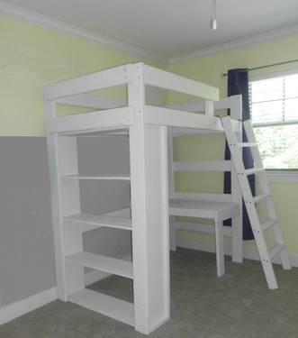 Used Troms 214 Ikea Twin Size Loft Bunk Bed W Desk Top For