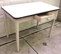 Vintage 1930's Enamel Top Hoosier Kitchen Table Wht. W ...