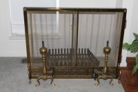 Vintage/Antique BRASS fireplace screen and andirons for ...