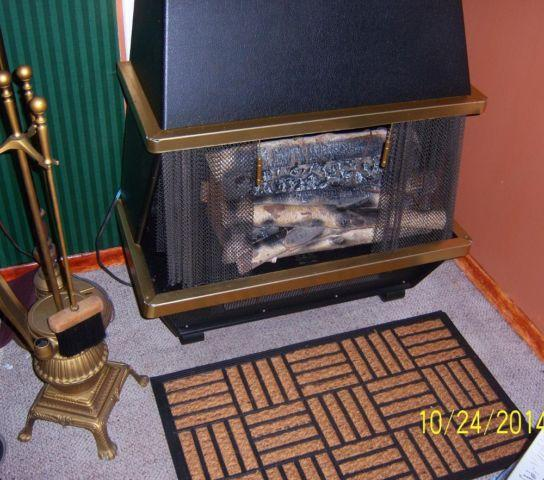 Vintage Electric Fire Place And Pot Belly Stove Tool Set