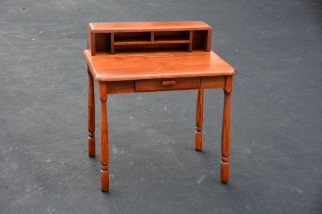 Vintage Small Solid Cherry Wood Kids Childs Desk For Sale