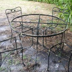 Vintage Wrought Iron Table And Chairs Foldable Dining Garden Set Glass Top 4 For